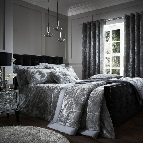 Catherine Lansfield Crushed Velvet Silver Bedding Set